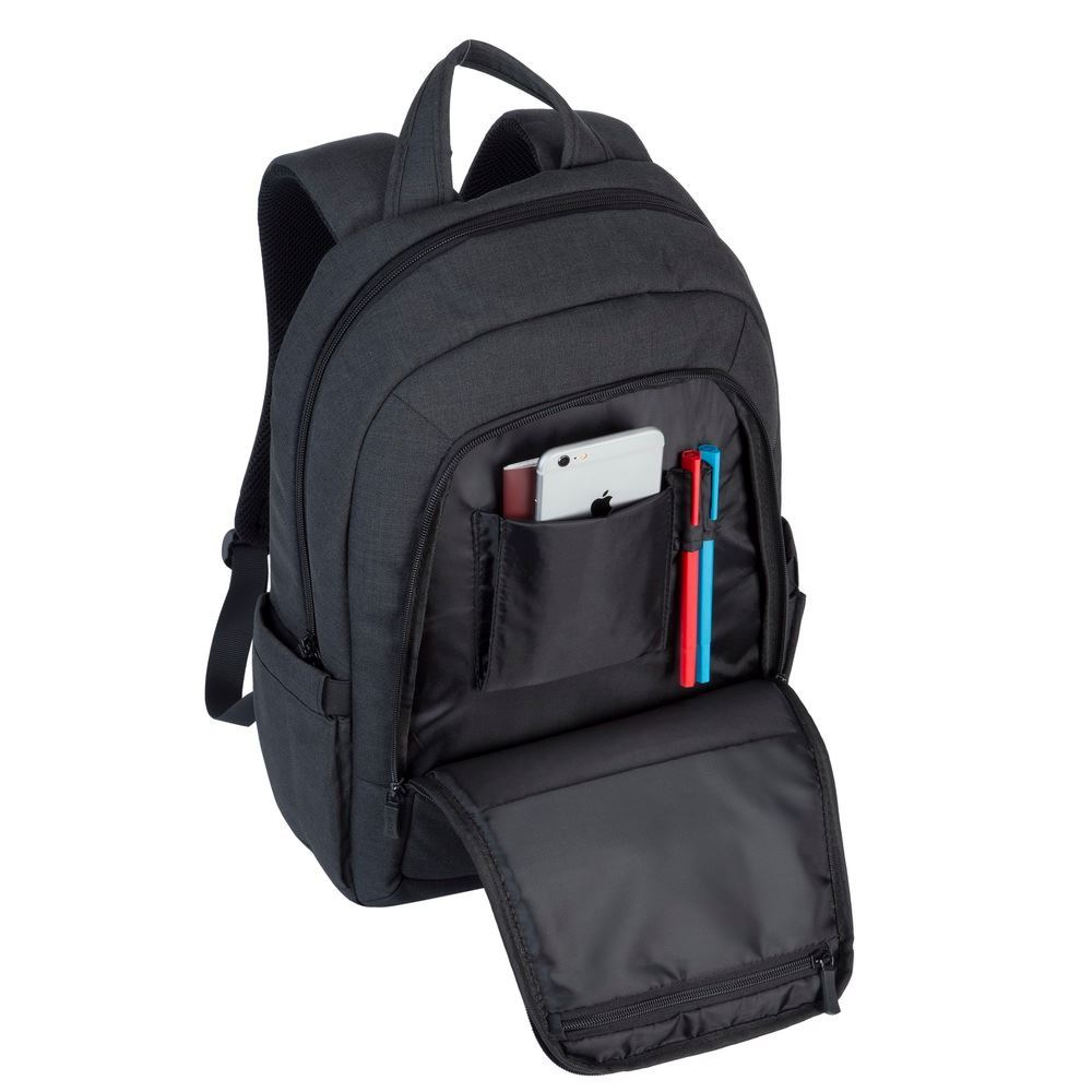 """Picture of RivaCase 7560 Laptop Canvas Backpack 15.6"""" black"""